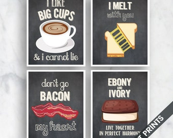 Big Cups, I Melt, Bacon, Ebony and Ivory (Funny Kitchen Song Series) Set of 4 Art Prints (Featured in Vintage Chalkboard) Kitchen Art