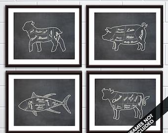 Lamb, Pork, Fish, Beef (Butcher Diagram Outline Series C) - Set of 4 - Art Prints (Featured Vintage Chalkboard) Kitchen Prints