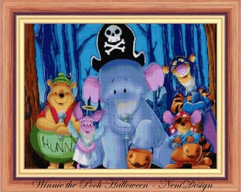 Winnie the Pooh Halloween, cross stitch pattern, cross stitch disney, cross stitch Halloween,  PDF pattern - instant download!