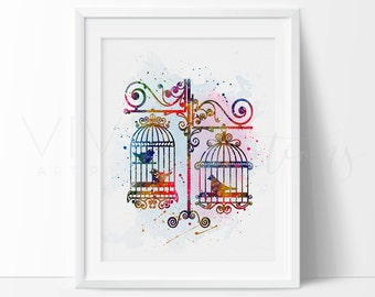 Bird Print, Birds in Cages Watercolor Animal Art Print Wall Decor, Chic Modern Bedroom Art, Watercolor Illustration, B2G1 Free, No. 46
