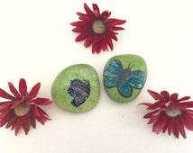 Butterfly painted rocks- Set of 2 garden rocks- Handpainted butterflies- Butterfly Gift- butterfly garden art -butterfly lover gift