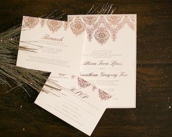 5x7 Two Layer Rose Gold Elegant Luxury Letterpress Foil Wedding Invitation Suite with Insert, RSVP & Envelope