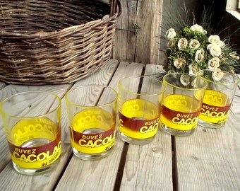 Vintage Bistro Glasses - Set of 5 - Cacolac Tumblers - Chocolate Glasses - French Bistro - Yellow and Brown Logo - Bistro Bar Decor
