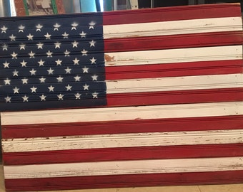 Handcrafted American Flag - reclaimed Bead Boad