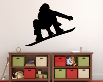 """Snowboarder Wall Decal - 27"""" x 32"""" Snowboarder Silhouette Vinyl Decal - Snowboarder 12"""