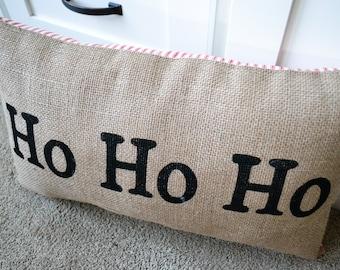 Burlap Christmas Pillow, Holiday Pillows - Christmas Decor - Winter Pillow - Santa Decor - Throw Pillow - Modern Pillow - Winter Pillow
