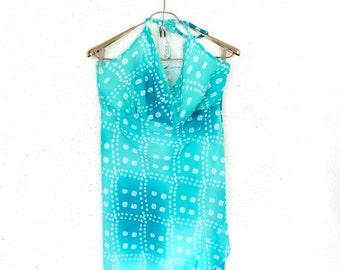 Mint Green Long Summer Dress Ditsy Frill Assymetric Hem Halterneck Beach Pool dress Size M L Large