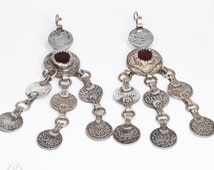 Old Authentic Moroccan Berber Earrings silver - coins - glass cabochons - collectible earrings - dangling earrings - south moroccan jewelry