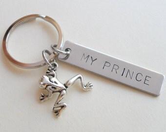 Frog Keychain, Fairytale Key Ring Gift, Husband Wife, Girlfriend Boyfriend, Frog Prince, Custom Stamped Tag