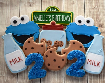 Sesame Street Cookies, Cookie Monster Cookies, Birthday, Cookie Favors, Cookie Monster