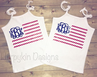 Girls american flag tank top