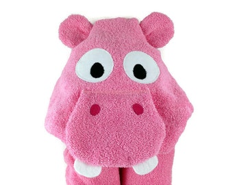 Girl Baby Shower Gift Hippo Hooded Towel Baby Towel Personalized Toddler Towel Baby Girl Hooded Towel Baby Bath Towel Hooded Baby Towel