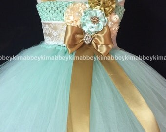 Flower girl tutu dress in mint and gold