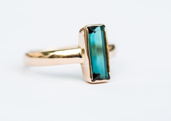 Indicolite Tourmaline 14k Gold Ring Blue By Naturalrockshop