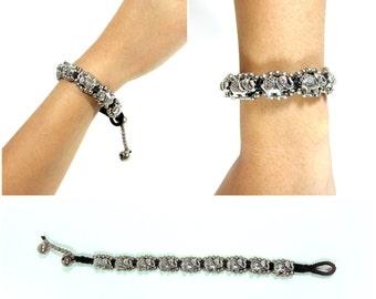 Silver Bracelet Adjustable Size, Wax String with Elephant Beads Handmade Hmong Thailand Jewelry. JB1072
