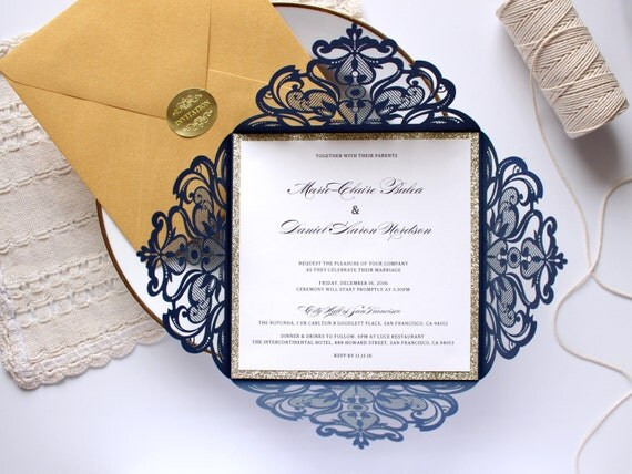Gold And Blue Wedding Invitations: Navy And Gold Wedding Invitation Gold Glitter Wedding Invite