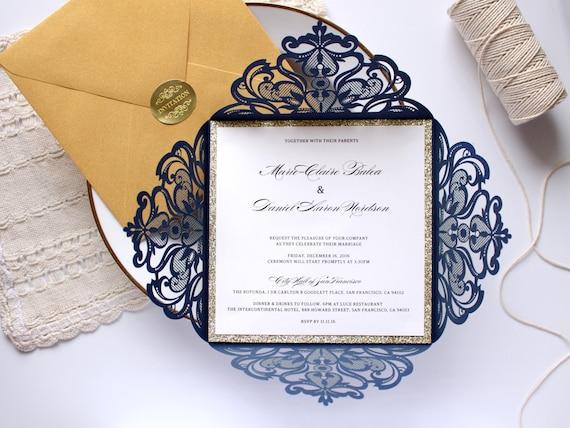Navy Blue And White Wedding Invitations: Navy And Gold Wedding Invitation Gold Glitter Wedding Invite