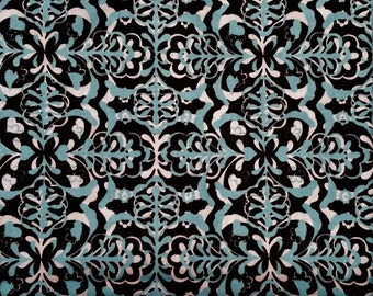Blank Quilting - 2007 Mark Hordyszynski - BTR-4888 - Turquoise & Black - Cotton Fabric