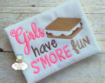Girls have S'more Fun Shirt or Bodysuit, S'mores Shirt, Girls S'mores Shirt, Girls Camping Shirt, Summer Camping Shirt, Campfire Shirt