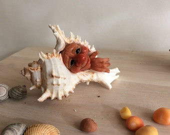 """OOaK Shell  Art Doll, Polymer Clay and Mixed media sculpture """"Isle of Wight Water Sprite"""""""