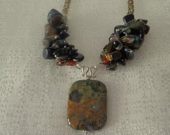 Sale Handmade Rainforest Jasper Necklace, Green Rhyolite and Blue Tiger Eye Necklace,Fall Necklace