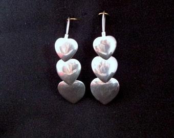 Vintage Sterling Silver Dangling Tripple Heart Earrings, Dangling Heart Earrings