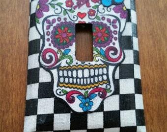 Sugar Skull Light Switch Cover, checkered print