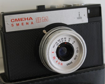 Vintage camera Smena 8M / photo camera / USSR/Russia/ souvenir USSR ,working condition with case/Visual condition as if a new