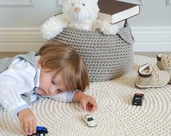 Runder teppich beige  Made to order Crocheted round rug fi 100cm 40''