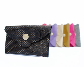 Holder for buisness cards made of blecak leather with minimal polka dots gold color; Available in other colors