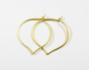 Gold Hoop Earrings, Large Gold Hoop Ear Wires, hand forged, Ready to Ship