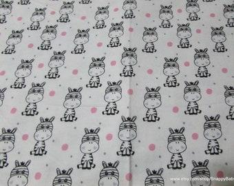 Flannel Fabric - Polka Dot Zebras White - 1 yard - 100% Cotton Flannel