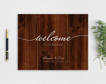 Modern Wooden Welcome Sign - Instant Download PDF Printable