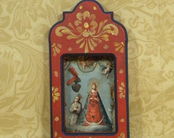 Red Madonna Shrine with Milagro ,Vintage,Folk Art,Mexico