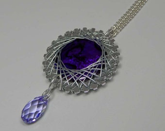 Spiro Wire Wrapped Purple Paua Shell. Wire Wrapped Pendant. Purple Paua Shell.