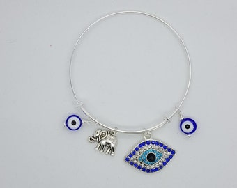 Evil eye silver womens bangle bracelet, evil eye blue bracelet, evil eye and elephant bangle bracelet, evil eye rhinestone bangle bracelet
