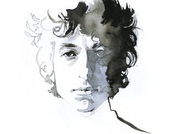 Bob Dylan, watercolor print