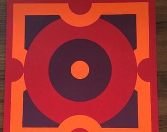 Vintage 1972 Hanne Brenken Op Art Hard Edge Serigraph Signed Numbered 36/50