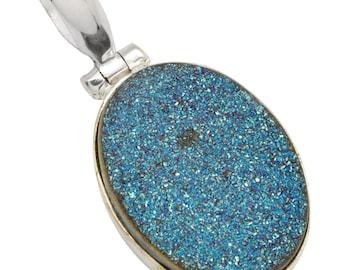 Blue Titanium Druzy Gemstone Pendant with Chain Solid 925 Silver Jewelry IP28499