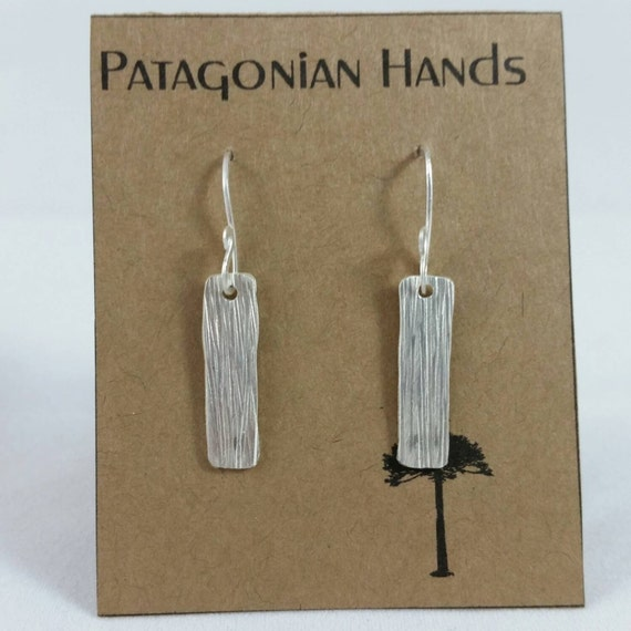 Fine silver hand hammered tree bark earrings Free Shipping in the US