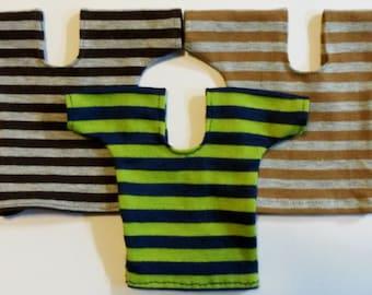 "Ken Doll,1/6th or Similar 12"" Fashion Male Doll. Stripe T Shirts. Mustard/ Grey, Plum/Grey, Blues/Lime."