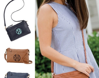 Monogrammed Crossbody Purse (Available in Navy or Green)