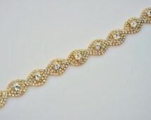 Gold Rhinestone BridalTrim, gold rhinestone trim, gold rhinestone chain,  cup chain trim Headband Supply DIY accessories By the FOOT R20251Y