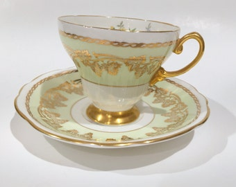 EB Foley Tea Cup and Saucer, Garden Tea Party, Antique Tea Cups, Green Gold Cups, Tea Set, Vintage Tea Cups, English Bone China Cups