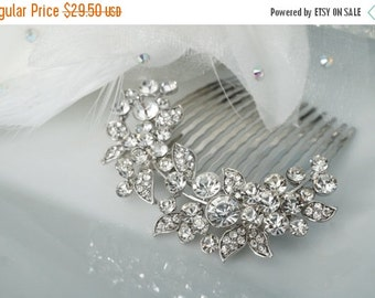 Sale 15% Off Petite Crystal Hair Comb, Floral Bridal Hair Pin, Wedding Hair Accessory