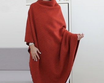 Poncho, Wool Poncho, red wool cape, halloween cape, gray elegant poncho, woman wool wrap