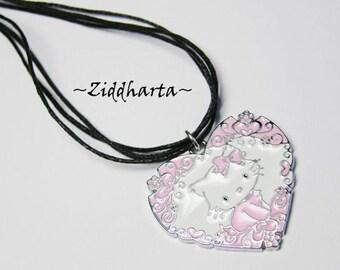 "Necklace 3-strands ""Pink Hello Kitty Pajamas"" Necklace PINK  Hello Kitty Necklace Enamel Pendant Necklace - Handmade Jewelry by Ziddharta"