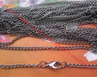 Wholesale 50pcs 18 inch 3.5x2.5mm thickness Gunmetal cable chain necklace with lobster clasps