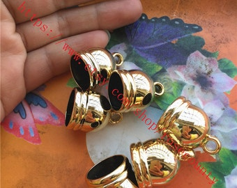 Large-Wholesale 100pcs 25x18mm CCB Gold Tassel Caps/end cap terminators findings--hole 15mm