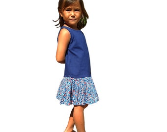Summer girl's dress, bi fabric, jersey top and bottom cotton cambric printed with blue flowers, Liberty style